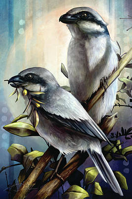 Digital Art - Loggerhead Shrike Bird by Cass Womack