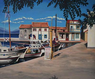 Painting - Loggos Harbour 1988 by Nop Briex
