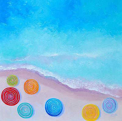 Painting - Lollipop Beach Umbrellas by Jan Matson