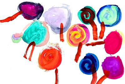 Painting - Lollipop Collection 2018 - Watercolor Painting by Mahsa Watercolor Artist