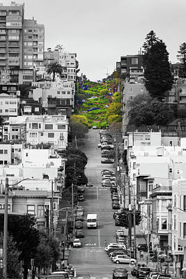 Photograph - Lombard Street San Francisco Crookedest Street In America R164 Bw by Wingsdomain Art and Photography