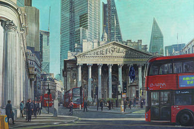 Painting - London City Bank Area In Sunny Autumn by Martin Davey