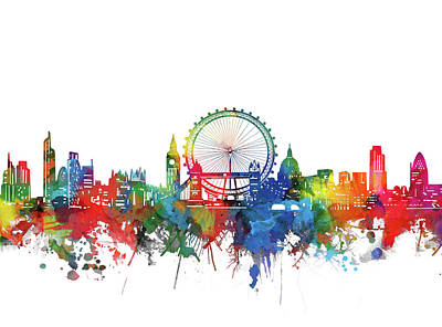 London Skyline Royalty-Free and Rights-Managed Images - London City Skyline Watercolor by Bekim M