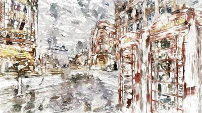 Digital Art - London City Street by Mario Carini