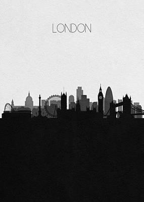 London Skyline Digital Art - London Cityscape Art by Inspirowl Design