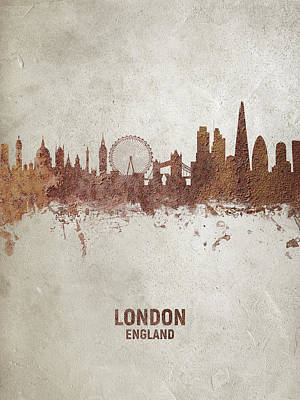 Digital Art - London England Rust Skyline by Michael Tompsett