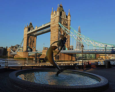 Photograph - London England Tower Bridge Dolphin Statue London Uk by Toby McGuire