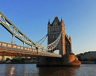Photograph - London England Tower Bridge Side View Blue Sky by Toby McGuire