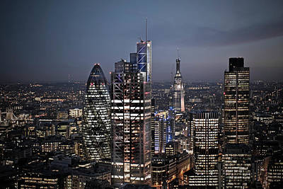 Financial District Photograph - London Financial Area At Night by Howard Kingsnorth