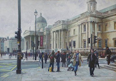 Painting - London National Gallery In The Winter by Martin Davey
