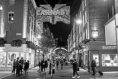 Photograph - London Nightlife Carnaby Street London Uk United Kingdom Black And White by Toby McGuire