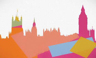 Skylines Mixed Media - London Pop Art Skyline by Dan Sproul