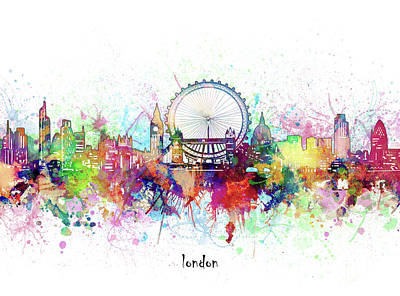 London Skyline Royalty-Free and Rights-Managed Images - London Skyline Artistic by Bekim M