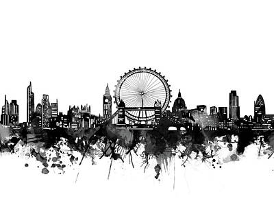 London Skyline Royalty-Free and Rights-Managed Images - London Skyline Bw by Bekim M