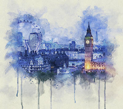 Mixed Media Royalty Free Images - London Skyline Royalty-Free Image by David Ridley
