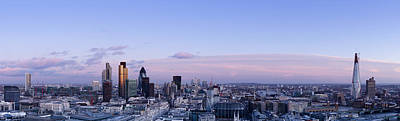 Financial District Photograph - London Skyline Dusk Panorama by Dynasoar