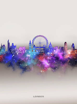 London Skyline Royalty-Free and Rights-Managed Images - London Skyline Galaxy by Bekim M