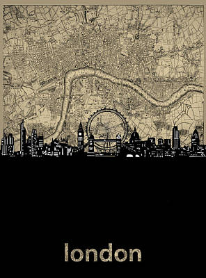 London Skyline Royalty-Free and Rights-Managed Images - London Skyline Map by Bekim M
