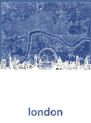London Skyline Royalty-Free and Rights-Managed Images - London Skyline Map Blue by Bekim M