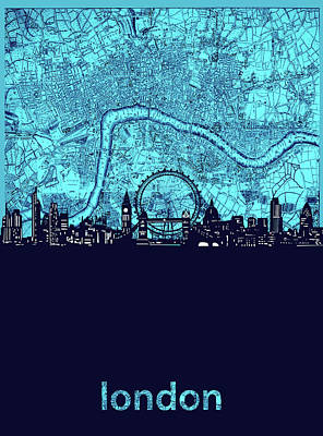 London Skyline Royalty-Free and Rights-Managed Images - London Skyline Map Turquoise by Bekim M
