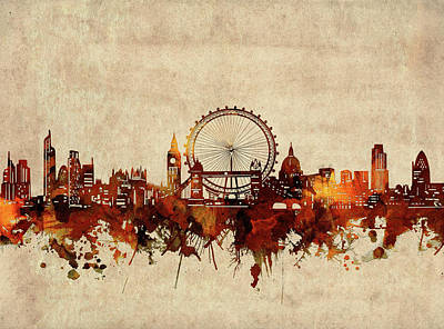 London Skyline Royalty-Free and Rights-Managed Images - London Skyline Sepia by Bekim M