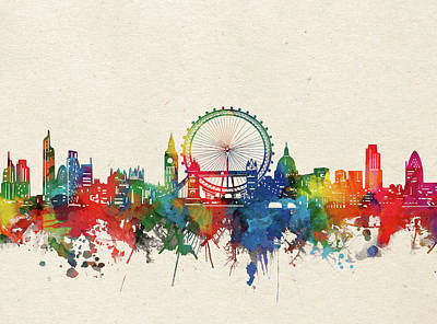 London Skyline Royalty-Free and Rights-Managed Images - London Skyline Watercolor by Bekim M