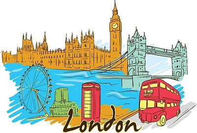 Digital Art - London The City by Stanley Mathis