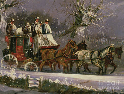 Painting - London To Dover Coach In The Snow by Henry Thomas Alken