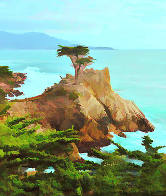 Photograph - Lone Cypress Watercolor Rendention by Floyd Snyder