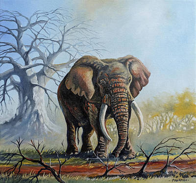 Lone Elephant Browsing Original