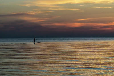 Photograph - Lone Stand Up Paddler Just Before Sunrise by Sven Brogren