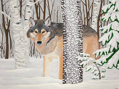 Painting - Lone Wolf Searching by Michelle Vyn