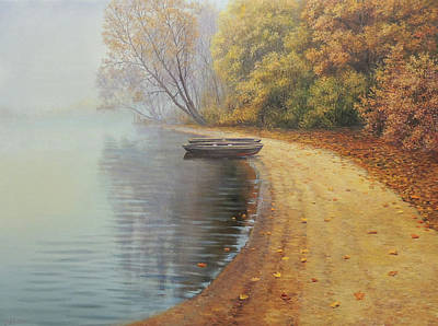Wall Art - Painting - Lonely Boat by Oleg Riabchuk