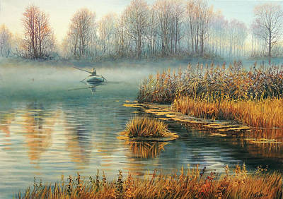 Wall Art - Painting - Lonely Fisherman by Oleg Riabchuk