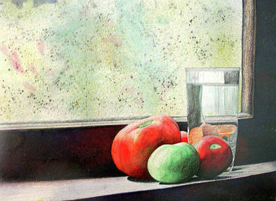 Painting - Lonely Windowsill Tomatoes by Ceilon Aspensen