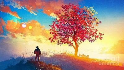 City Scenes - Lonely Red Tree At Sunset Ultra HD by Hi Res
