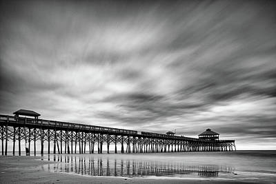 Photograph - Long Exposure Monochrome Of The Edwin S. Taylor Folly Beach Pier - Charleston South Carolina by Silvio Ligutti