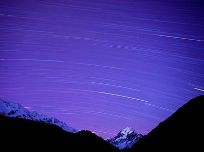 Photograph - Long Exposure Of Night Sky Over Aoraki by Ben Pipe / Robertharding