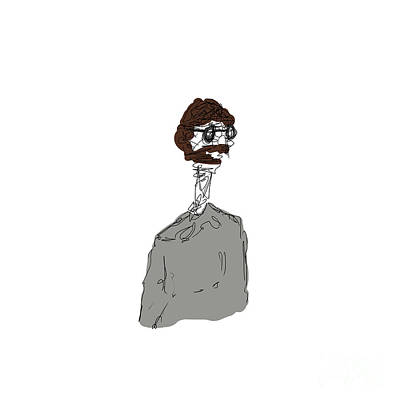 Digital Art - Long Necked Bearded Man  by Clayton Bastiani