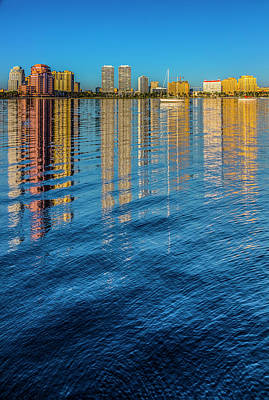Photograph - Long Reflections Of Downtown West Palm Beach by Debra and Dave Vanderlaan