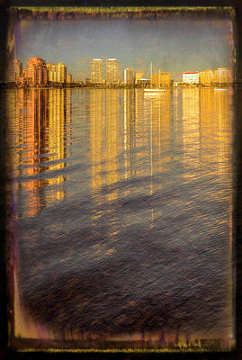 Photograph - Long Reflections Of Downtown West Palm Beach Framed Painting by Debra and Dave Vanderlaan