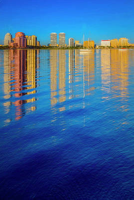 Photograph - Long Reflections Of Downtown West Palm Beach In Nautical Blues P by Debra and Dave Vanderlaan