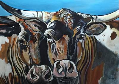 Painting - Longhorns, Interrupted by Stephanie Come-Ryker