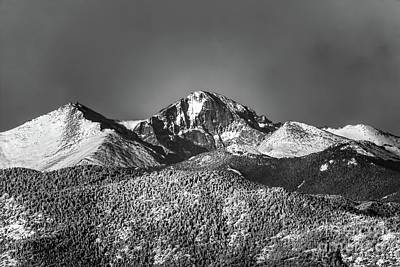 Photograph - Longs Peak Morning Snow by Jon Burch Photography