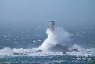 Photograph - Longships Lighthouse During Storm Diana by Terri Waters