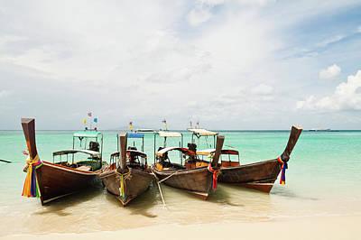 Longtail Wall Art - Photograph - Longtail Boats At Phi Phi Island by Melissa Tse