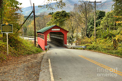 Photograph - Looking Down On The Chiselville Covered Bridge by Adam Jewell
