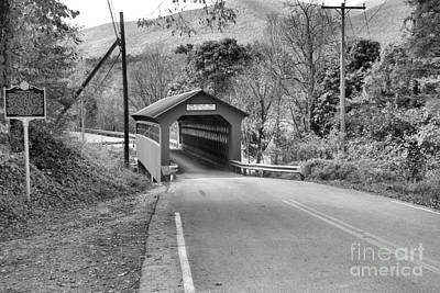 Photograph - Looking Down On The Chiselville Covered Bridge Black And White by Adam Jewell