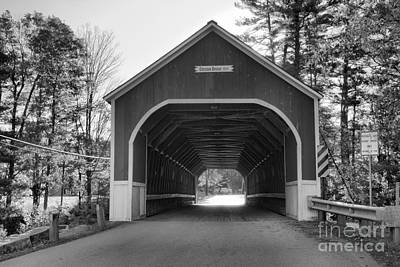 Photograph - Looking Into The Cresson Covered Bridge Black And White by Adam Jewell
