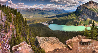 Photograph - Looking Out Over Lake Louise From The Little Beehive - Panorama by Adam Jewell